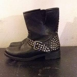 Women's black leather boots rhinestone buckle